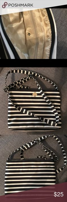 Kate Spade Cross Body Striped Bag Black and white kate Spade cross body striped bag with tan interior and gold detailing kate spade Bags Crossbody Bags