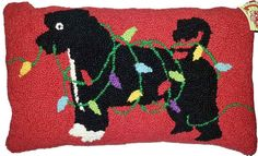 """Portuguese Water Dog Holiday Christmas Lights - 12"""" x 20"""" Wool Hooked Pillow"""