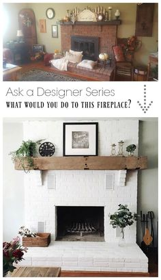 Ask a Designer Series- Paint, Rugs and Small Spaces - Nesting With Grace Ask a Designer Series- What would you do to this fireplace? Wood Mantle Fireplace, Painted Brick Fireplaces, Brick Fireplace Makeover, White Fireplace, Fireplace Design, Renovate Fireplace, Painting A Fireplace, Brick Fireplace Remodel, Cottage Fireplace