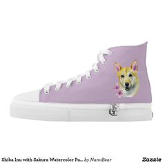 Shiba Inu with Sakura Watercolor Painting High Top Sneakers. This is a watercolor painting of a shiba inu mix dog with two sakura (cherry blossom) flowers on the side.