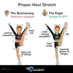 cheer workouts Flyers: How to Heel Stretch Cheerleaders: a boomerang is not a cheer shape! Work on the progression of your heel stretch with correct muscle engagement and technique to stay more stable in the air! Cheer Athletics Abs, Cheerleading Stunts, Cheer Tryouts, Cheerleading Cheers, Cheer Coaches, Athletics Logo, Youth Cheer, Competitive Cheerleading, Workouts For Cheerleaders