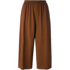 Nº21 Drop-Crotch Cropped Trousers ($338) ❤ liked on Polyvore featuring pants, capris, brown, brown crop pants, drop crotch trousers, cropped capri pants, low crotch pants and brown pants