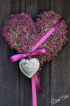 Lavender Heart with Ribbon and Silver Charm
