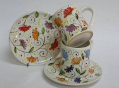First time I ever saw this pattern as a set usually just a pitcher. Dot Art Painting, China Painting, Ceramic Painting, Ceramic Art, Pottery Painting Designs, Pottery Designs, Pottery Art, Mexican Paintings, Mugs And Jugs
