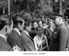 Moscow. Marshal of the Soviet Union Ivan Konev meets young people coming from the capitals of the Soviet republics.
