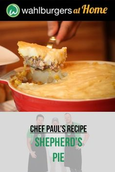 Chef Paul Wahlberg's Shepherd's Pie Recipe using Wahlburgers Beef! Entree Recipes, Meat Recipes, Cooking Recipes, Healthy Recipes, Simple Recipes, Crockpot Recipes, Dinner Recipes, Beef Dishes, Food Dishes