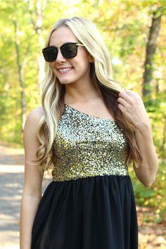 City Sparkle Dress - Gold $42.00 #Dresses #UOI