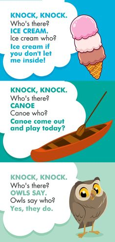 A list of over 100 (and growing) funny knock knock jokes for kids to have on hand! Read them all here at La Jolla Mom Clean Funny Jokes, Cute Jokes, Funny Texts Jokes, Funny Jokes For Kids, Corny Jokes, Funny Jokes To Tell, Really Funny Memes, Most Funny Jokes, Jokes For Adults