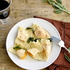 Butternut Ravioli with Sage Browned Butter - a great recipe for Fall! Very easy to prepare.