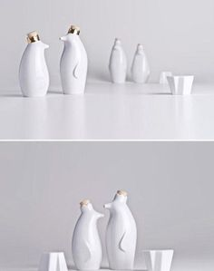 Pinguim Rei, adorable set of tableware from Holaria. The penguins hold oil and vinegar, and the icebergs are salt and pepper shakers. Ceramic Tableware, Kitchenware, Creative Words, Creative Design, Oil And Vinegar Dispensers, Egg Holder, Contemporary Classic, Cool Designs, Interior Decorating