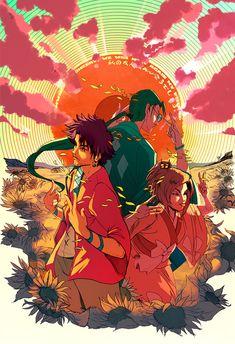 Print+featuring+Mugen,+Jin,+and+Fuu+of+the+anime+series+Samurai+Champloo. Cowboy Bebop, Cartoon Network, Oni Samurai, Manga Anime, Anime Art, Anime Music, Otaku, Jin, Amazing Drawings
