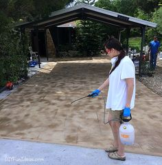 How to install beautiful stamped concrete tiles for the look of stamped concrete for a fraction of the cost! Acid Concrete, Concrete Tiles, Stained Concrete, Diy Stamped Concrete, Covered Patios, Gardening, Bougainvillea, Fun Ideas, Front Porch