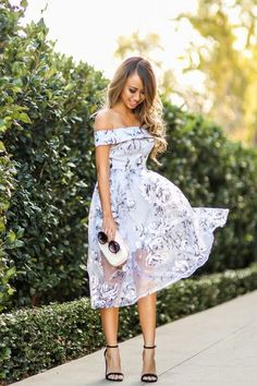 2ecea323d0f Of the shoulder dresses and tops are perfect for that romantic feel.  Especially love this lavender color and floral print dress.(How To Wear Off  The ...