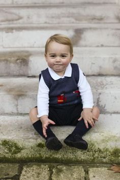 """Prince George's New Portraits Are Royally Adorable - Found via Buzzfeed - """"The little prince is pictured sitting on the steps of Kensington Palace, the London residence he calls home."""""""