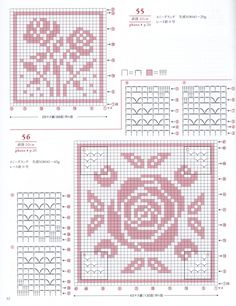 Asahi Original — Rose, Pineapple, Crystal of Snow Cross Stitch Rose, Simple Cross Stitch, Crochet Doily Patterns, Crochet Squares, Pixel Crochet, Easy Crochet, Cross Stitch Designs, Cross Stitch Patterns, Motifs Granny Square