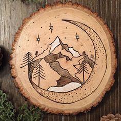 Wood burning mountain art pyrography moon stars - often thrones glass - . - Wood burning mountain art pyrography moon stars – often thrones glass – - Wood Burning Crafts, Wood Burning Patterns, Wood Burning Art, Wood Crafts, Wood Burning Projects, Paper Crafts, Mountain Art, Wood Art Design, Cool Ideas