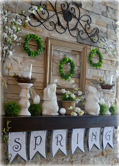 If you read my last post, you may have noticed my spring mantel and hearth in the background of the Easter tablescape I created in fro. Table Diy, Seasonal Decor, Holiday Decor, Easter Table, Easter Decor, Easter Ideas, Entryway Decor, Foyer, Spring Home Decor