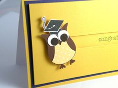 Hand Crafted Blue and Gold Owl Graduation Spinner Card. $5.25, via Etsy.