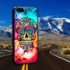 Popular Sugar Skull Colorful Crackout  Galaxy Nebula - ArtCover - Hard Print Case iPhone 4/4s, 5, 5s, 5c and Samsung S3, S4
