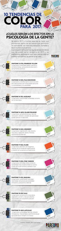 #Infografía: tendencias de color 2017 y sus efectos en psicología Conoce los efectos que el color provoca con base en las tendencias que se vislumbran para 2017