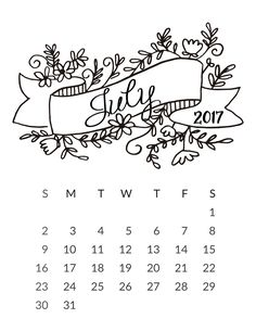 cute July 2017 Calendar