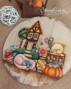 Country Paintings, Artist Painting, Food, Decor, Puffy Paint, Wood, Decoration, Essen, Meals