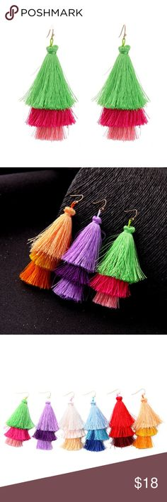 """Dark Pink Green Tassels Statement Dangle Earrings These pretty earrings are great for Spring and Summer!   Three layers of green to pink tassels. Earrings are made of cotton tassels, alloy, and are 4"""" in length.  Feel free to let me know if you have any questions; happy to help! :) Trendy Jewels Jewelry Earrings"""