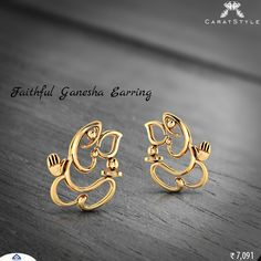Be calm in your heart with faithful #ganesha #earring.   #gold #jewellery