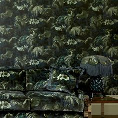 House of Hackney Limerence wallpaper in Ink. Bring the foliage of the ancient Silk Route to your interior with this wallpaper. House Of Hackney Wallpaper, Botanical Wallpaper, Designers Guild, Farrow Ball, Designer Wallpaper, Luxury Wallpaper, Artemis, Soft Furnishings, Decoration