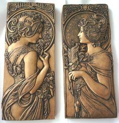 Mucha style art nouveau plaques in bronze effect op Etsy, 21,50 €