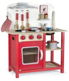 Cocinita de madera roja Leomark: 69,99€ Cocina roja de madera de juguete barata.  Cocinitas para niñas y niños