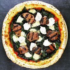 Lamb Pizza, marinated Lamb Loin, Spinach, Cracked Pepper, Ricotta and Mozzarella