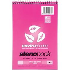 """Roaring Spring Enviroshades Wirebound Steno Book 6""""X9"""" 80 Sheets-Pink W/4 P - pink w/4 paper colors, gregg rule, Pink W/4 Paper Colors/Gregg Rule pink w/4 paper colors/ gregg rule"""