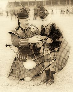 :::::::::::: Vintage Photograph :::::::::::: Father and Son, Highland Gathering, January 1940