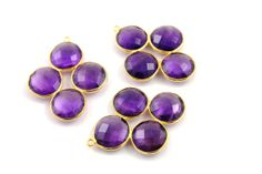 Natural Purple Amethyst Bezel Gemstone Component 24K by Beadspoint, $12.99