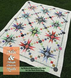 Mix and Mingle Quilt by Moda Bake Shop  #BasicGrey, #CharmPack, #Hazelwood, #ModernBackgroundsLuster, #OneCanoeTwo, #Other, #Quilt, #SaturdayMorning, #SpazzyCatDesigns, #ZenChic