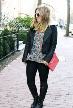 Black and white outfit: Leather jacket, over the knee boots, red crossbody bag. // TheFashionablyBroke.com