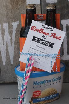 Fun surprise gift on Aug. 6th. Nat'l Rootbeer Float Day. Has free printable from The Crafting Chicks.