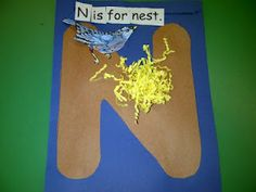 Letter Nn - N is for nest. I would allow students to make their own bird, maybe with a couple feathers?