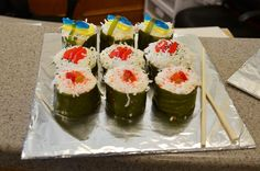 These are sushi cupcakes Vanessa and I made.