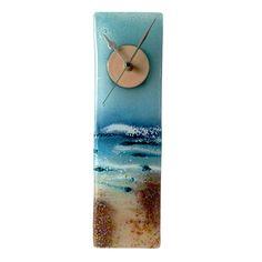 SAND WALK TO BEACH FUSED GLASS WALL CLOCK