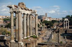 roman forum - ruins of temples, arches and basilicas.