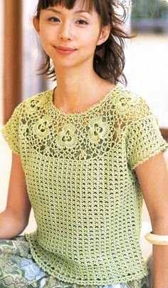 Free Crochet Pattern Short Sleeve Sweater : Japanese Crochet Pineapple Lace Cardigan Top by ...