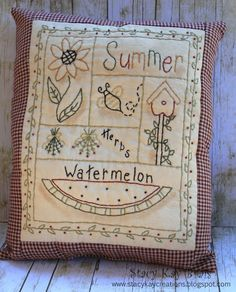"""""""Summer Sampler""""  Design by:  Primitive Stitches and Stitched by: ScrapbookingCottage on Etsy"""