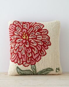Designs For Garden Flower Beds Floral Hooked Wool Pillow Cover By Gertrude Rug Hooking Designs, Rug Hooking Patterns, Wool Pillows, Throw Pillows, Cushions, Punch Needle Patterns, Hand Hooked Rugs, Penny Rugs, Decorative Pillow Covers