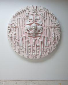 'Artificial Heaven' by John Breed. Animal bones, plastic bones and skulls, high gloss epoxy resin and matte paint on wood. Eclectic Sculptures, Animal Bones, Skull And Bones, Installation Art, Artsy Fartsy, Painting On Wood, Sculpture Art, Art Photography, Art Pieces
