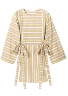 Shop now. See By Chloé Striped Mini Dress with tie at waist and wide sleeves. A sartorial culture clash, the voluminous shapes in See by Chloé's pre-spring collection take their cue from both French and Japanese influences. The deceptively simple cut of this dress features subtle hints of drama in the oversized sleeves, muted mustard stripes, buttoned shoulder-fastenings and kimono-style waist sash to add shape and structure.