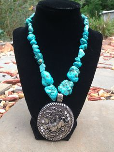 Chunky western turquoise necklace with by faithineverystone