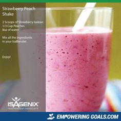 Magnificent Isagenix Drinks to tempt your taste buds! Strawberry peach shake featuring isagenix products such as the Isalean shake make this a full meal replacement shake and a healthy meal idea for busy . Isagenix Shakes, Isalean Shake, Magic Bullet Recipes, Weight Watcher Smoothies, Protein Shake Recipes, Milkshake Recipes, Isagenix Strawberry Shake Recipes, Smoothie Recipes, Drink Recipes