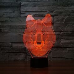 Atmosphere lamp 7 Color Changing Visual illusion LED Decor Lamp Wolf Home Table Decoration for Child Gift. Lampe 3d, Led Lampe, Desk Light, Lamp Light, Lampe Tactile, Deco Led, 3d Optical Illusions, Baby Night Light, Wolf Face